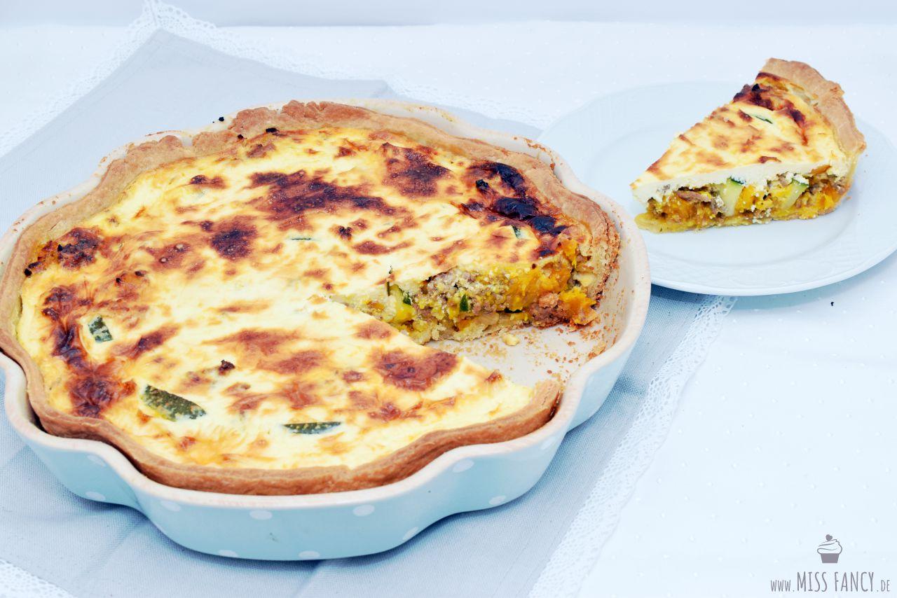Kürbis Hackfleisch Zucchini Quiche Miss Fancy Lifestyle Blog